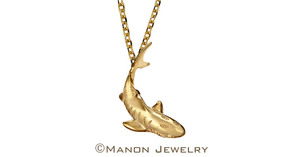 14k yellow gold shark by manon jewelry s300