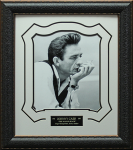 Johnny cash b w framed portrait s300