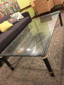 Glass top table from bar s300